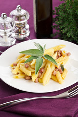 Pasta with ham and potatoes