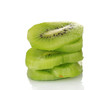sliced ​​ripe kiwi isolated on white