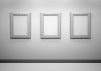 Gallery Interior with empty frames on a wall