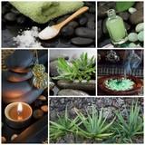 Fototapety Innere Kraft und Ruhe - Collage Wellness in grün