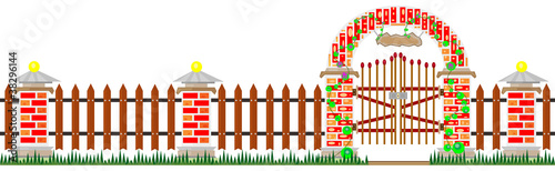 Long fence and gates from bricks