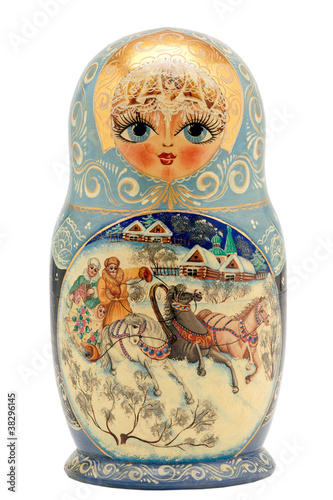 matryoshka doll isolated on white