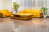 hall interior with yellow leather furniture