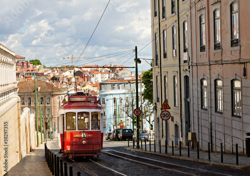 historic classic red tram of Lisbon - 38297355