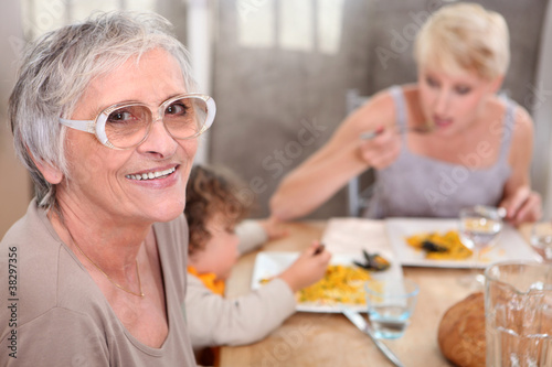 Grandma joins an informal family supper