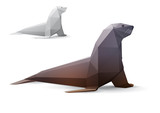 Seal stylized triangle polygonal model poster