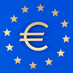 Euro sign and the stars