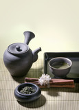 authentic japanese tea pot with green tea poster