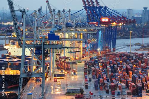 Leinwandbild Motiv Hamburger Hafen, Tollerort Terminal, Container, Wirtschaft