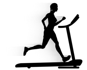 Woman running on a treadmill with halftone motion trail