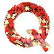 Letter Q, made from soft cushions in the shape of Hearts.