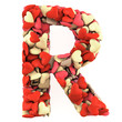 Letter R, made from soft cushions in the shape of Hearts.