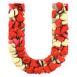 Letter U, made from soft cushions in the shape of Hearts.