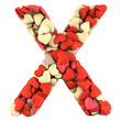 Letter X, made from soft cushions in the shape of Hearts.