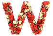Letter W, made from soft cushions in the shape of Hearts.