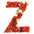 Letter Z, made from soft cushions in the shape of Hearts.