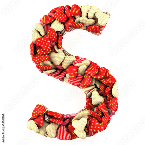 Letter S, made from soft cushions in the shape of Hearts.