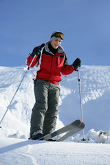A man going skiing