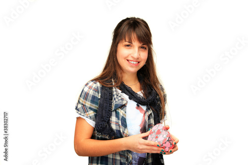young girl holding a gift box