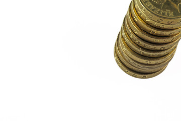 isolated pile of pound coins