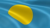 Palauan flag in the wind. Part of a series.
