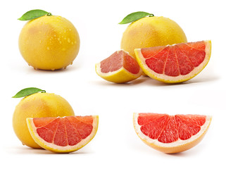 Collection of grapefruit with leaves and drops