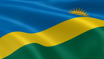 Rwandan flag in the wind