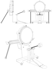 Drum With Pedal Vector 10