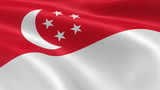 Singaporean flag in the wind