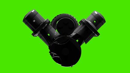chromium engine Rotation on 360 degrees 3D green screen HD