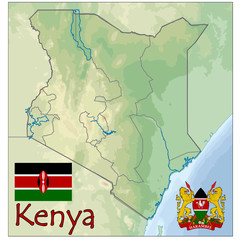 kenya africa map flag emblem
