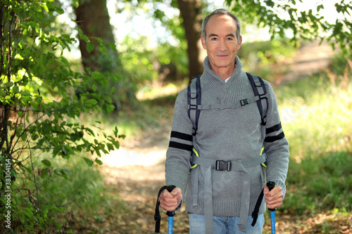 Elderly person hiking