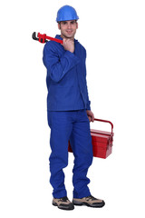 Worker with toolbox