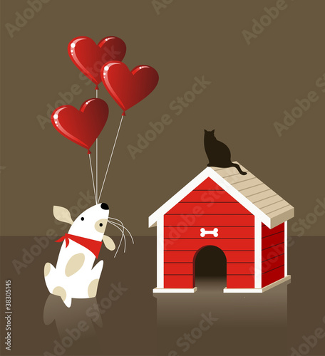 The dog and cat Valentines love