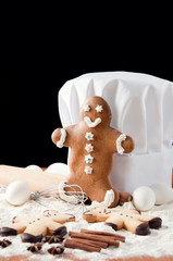 Chef's toque, gingerbread man and food ingredients