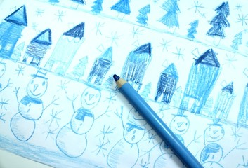 Kid's painting of winter with blue colors