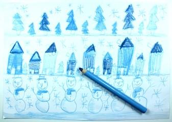 Children's drawing of winter