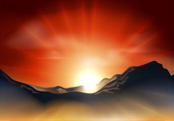 Sunrise or sunset over a mountain range