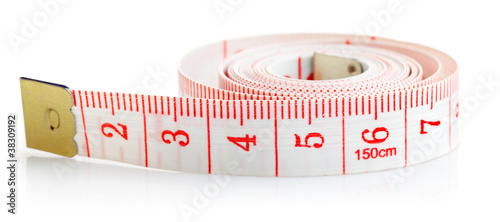 white tape measure with red isolated on white background