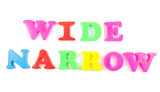 wide and narrow written in fridge magnets