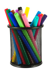 Set of felt-tip pens of different colors in holder