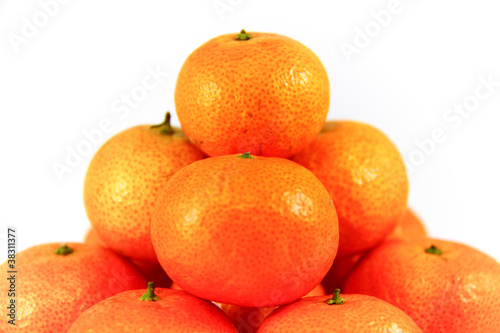 Pile of fresh mandarin, isolated on a white background