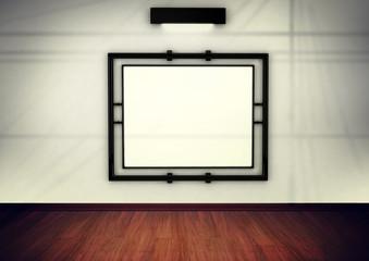 blank frame in gallery. 3d rendered