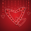 Love card with hearts shape concept in red color for Valentines