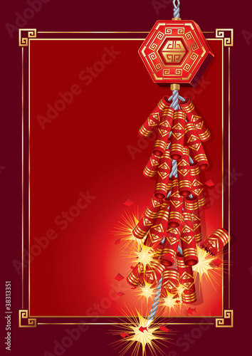Firecrackers on Chinese New Year Card.