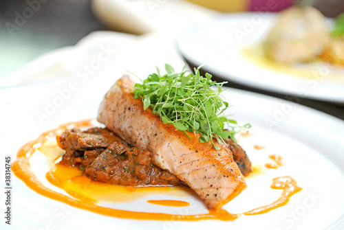 Delicious grilled salmon steak