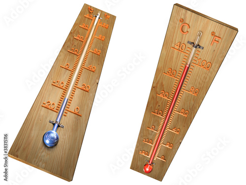 Set of thermometers 3d isolated