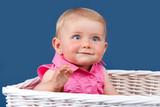 portrait of blue eyed baby girl
