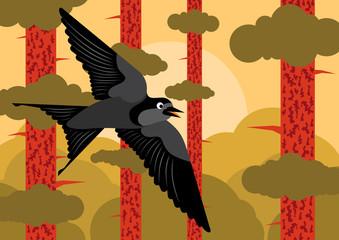 Bird flying in pine tree forest landscape background