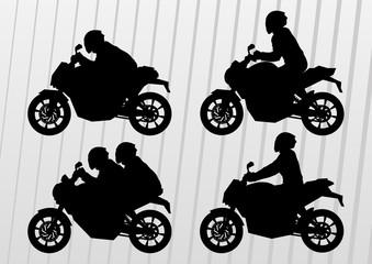 Sport motorbike riders silhouettes in urban city